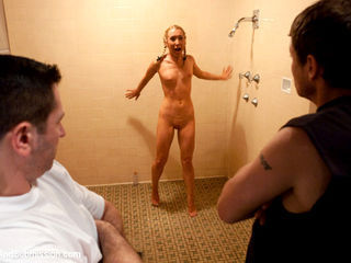 Cute blonde forced to bend over in the shower!