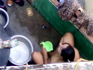 My Indian Neighbor Taking Bath