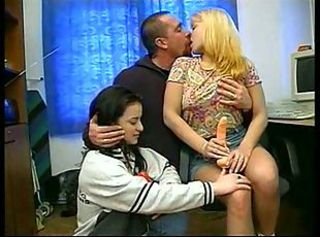 Blonde Brunette Daughter Kissing Old and Young Threesome Toy