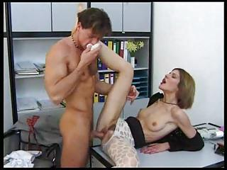 Small Tits Chick In Pantyhose Office Sex