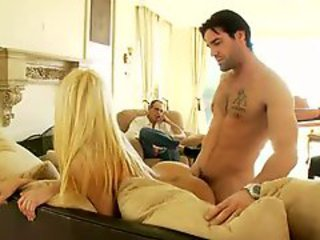 Stunningly hot blonde fucked in front of skimp