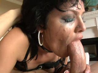 Super sucker Sadie West yawning chasm throats a mammoth thick shaft till she jests