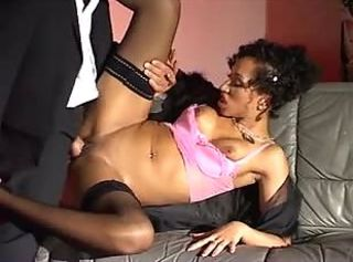 Black girl gives erotic blowjob and has nylon sex
