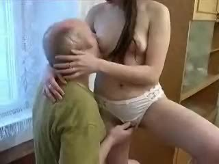 Daddy Daughter Long hair Old and Young Panty Russian