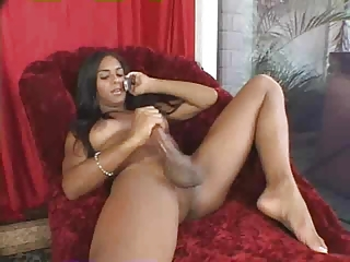 Shemale Strokes Big Cock During Phonesex