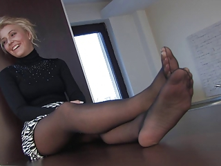 Blonde MILF Pantyhose Skirt