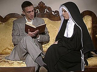 To the past Nun gets her ass fucked and face spermed