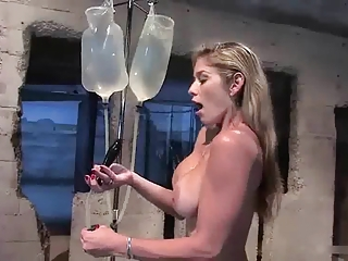 Anal Squirting, Busty Blonde Fills Ass Yon Buttplug Enema