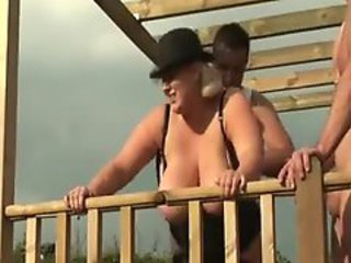 Heavy blonde approximately corset does threesome outdoors