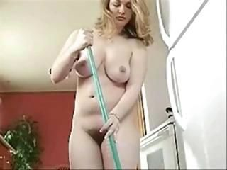 Curvy Housewife Cleaning...