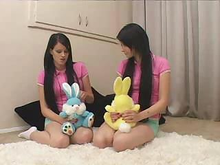 Two of a kind - Teen Sisters Being Taught By Father And Wife