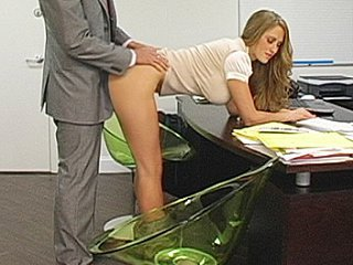 Blonde copier bent over her...