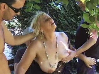 Mature blonde dp'd in woodland