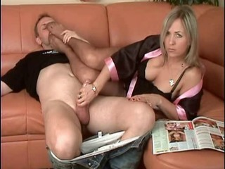 Beautiful Milf Gives HJ NYLON...