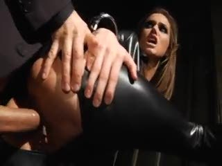 Tori Black in leather catsuit...