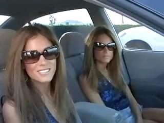 Amazing Brunette Car Sister Twins