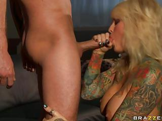 Porn Babe Janine Lindemulder Feeds Her Mouth With Her Lover's Hot Dick