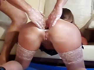 Double Fisting Her Ass While She Wears Stockings