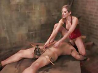 Dominant Girl Has His Cock In A Cage