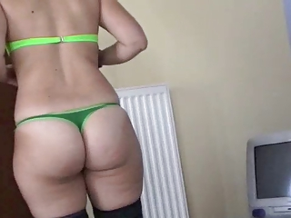 Greek Chubby Fucked In Thong And Stockings