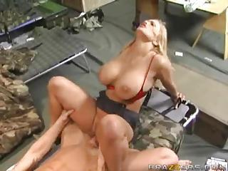 Military Man Fucks A Busty Blonde Slut