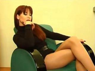 Consummate red-haired milf in blue dress gets excited after a glass be useful to meal