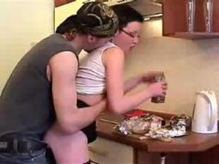 Young boy fucks sister in the kitchen