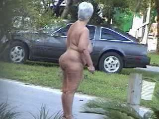 Fat nude lady walking down the outing