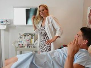 Horny Busty Blonde Doctor Julia Ann Sucks and Fucks Her Patient's Cock