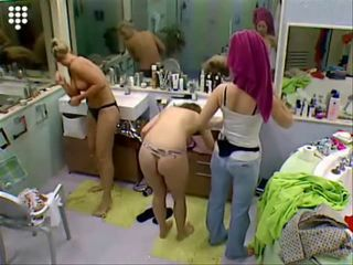 Big Brother NL Hot Blonde Teen Girl in string putting on bra