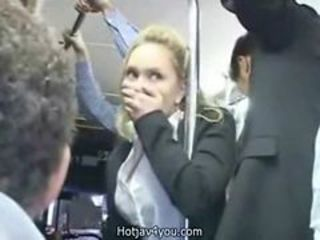 Cute blond business woman fingered with reference to orgasmus in the first place pub...