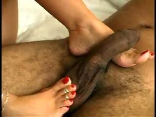 Sexy milf untrained wife and her black darling kinky footjob
