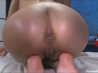Massage babe Misti Love is oiled up coupled with drilled by a stiff eager stab