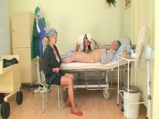 Horny young nurse bitch joins granny and grandpa's cock sucking