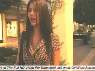 Shyla shows her shove around sexy boobs while walking down the street to a restaurant added to then says many interesting things