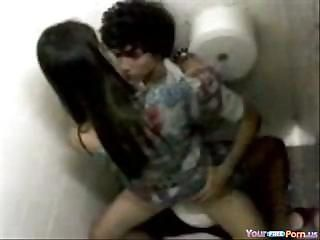Teen Rides The brush BF On A Public Toilet