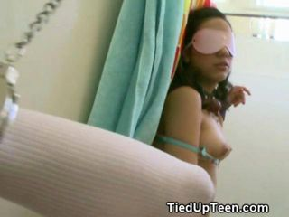 Eighteen year old brunette slut chained to the wall and fucked silly in a bathroom