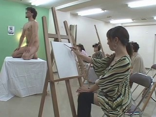 Art class model shows his a big...