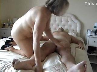 Fat but sexy British middle-aged female sits down on hungry cock