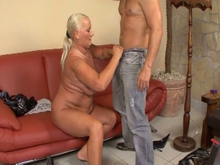 Blonde Grandma Fucked By A Hard...