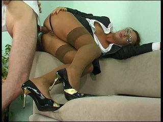 Clothed business girl fucked up the ass