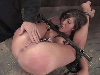 The Slut Was Tied Down As Her Sl...