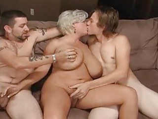 Fat adult blonde having a threesome with studs