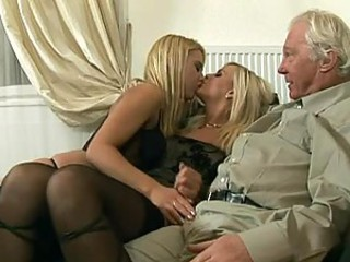 Old Challenge Has An Amazing Threesome Thither Hot Blonde Babes