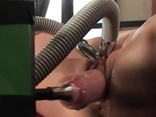 Super slutty bitch is clamped far and gets her twat hammered by a horny robot