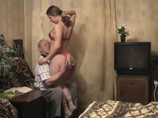 Bald old bloke gets his cock sucked and fucked by a sexy brunette babe