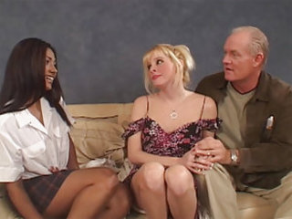 Jazmine is a cute brunette bitch who's experienced enough to make guys come after she works cocks deep inside her throat. And we should say this old grumbler doesn't realize now what a lucky man he is until our dark angel touches his erect hard cock with