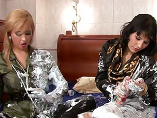 Daria Glower and slut fill their clothes with cream