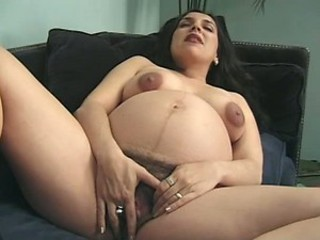 Hairy Pregnant Babe Masturbating Onwards Getting Fucked