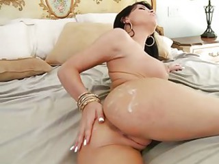Babe Rebecca Linares gets her healthy big butt creamed with fresh cock sauce